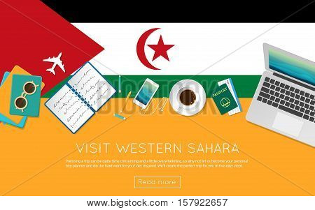 Visit Western Sahara Concept For Your Web Banner Or Print Materials. Top View Of A Laptop, Sunglasse