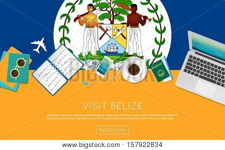 Visit Belize Concept For Your Web Banner Or Print Materials. Top View Of A Laptop, Sunglasses And Co