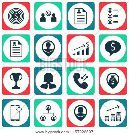 Set Of Hr Icons On Phone Conference, Business Woman And Successful Investment Topics. Editable Vecto