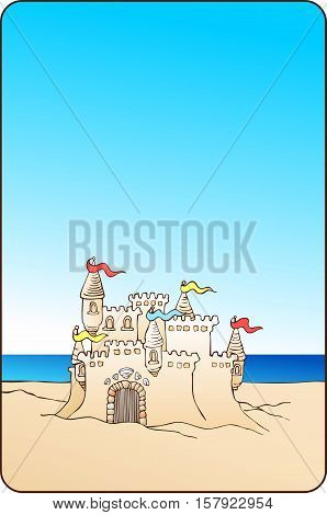 Sand castle on the beach with sky for text