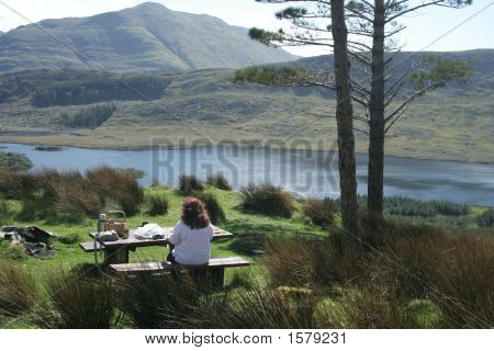 Picnic By The Lake And Mountains A