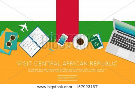Visit Central African Republic Concept For Your Web Banner Or Print Materials. Top View Of A Laptop,