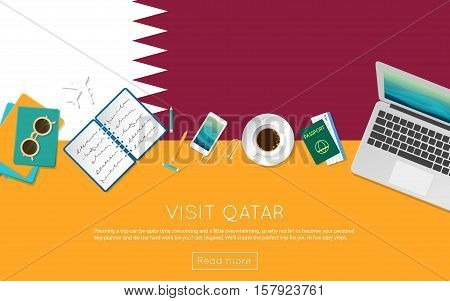 Visit Qatar Concept For Your Web Banner Or Print Materials. Top View Of A Laptop, Sunglasses And Cof