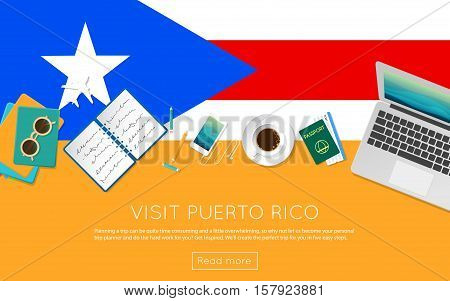 Visit Puerto Rico Concept For Your Web Banner Or Print Materials. Top View Of A Laptop, Sunglasses A