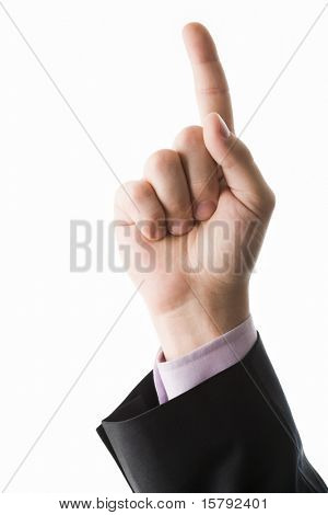 Photo of human hand with forefinger pointing upwards