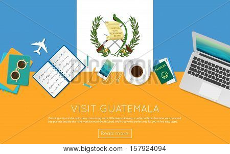 Visit Guatemala Concept For Your Web Banner Or Print Materials. Top View Of A Laptop, Sunglasses And
