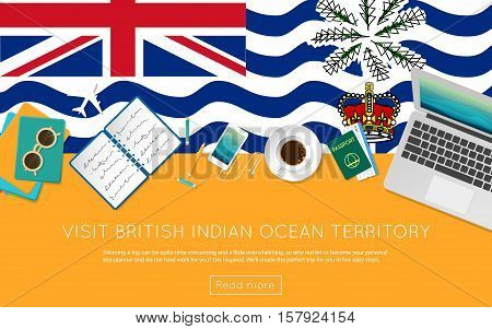 Visit British Indian Ocean Territory Concept For Your Web Banner Or Print Materials. Top View Of A L
