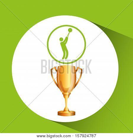 silhouette man hammer throw athlete trophy vector illustration eps 10