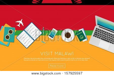 Visit Malawi Concept For Your Web Banner Or Print Materials. Top View Of A Laptop, Sunglasses And Co