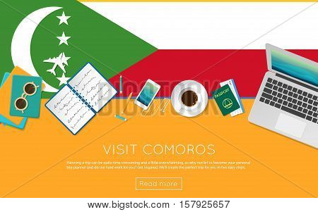 Visit Comoros Concept For Your Web Banner Or Print Materials. Top View Of A Laptop, Sunglasses And C