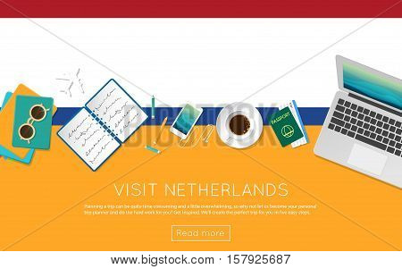 Visit Netherlands Concept For Your Web Banner Or Print Materials. Top View Of A Laptop, Sunglasses A