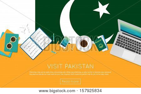 Visit Pakistan Concept For Your Web Banner Or Print Materials. Top View Of A Laptop, Sunglasses And