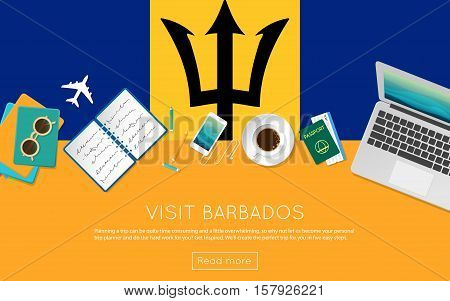 Visit Barbados Concept For Your Web Banner Or Print Materials. Top View Of A Laptop, Sunglasses And