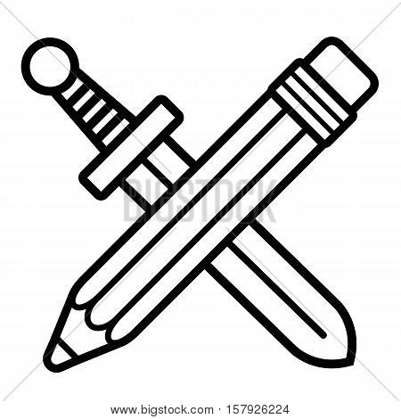 Crossed silhouette of pencil with eraser and sword, vector icon