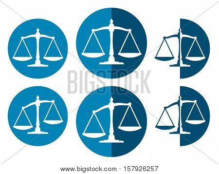 Balanced and unbalanced blue weight scales vector icons set isolated on white