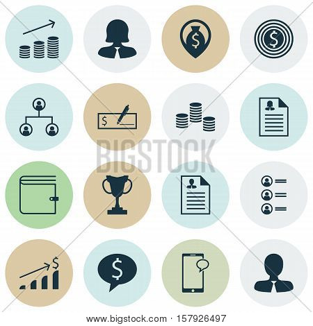 Set Of Management Icons On Manager, Wallet And Successful Investment Topics. Editable Vector Illustr