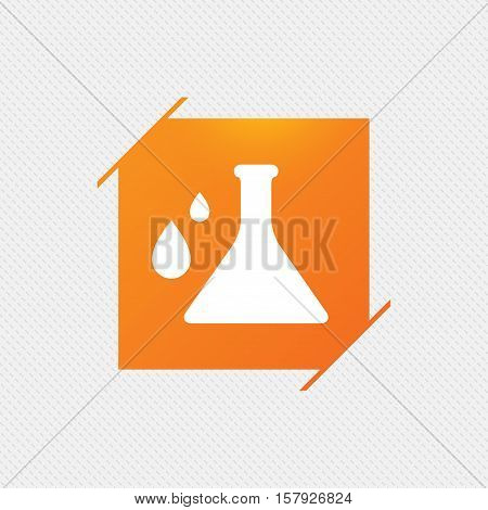 Chemistry sign icon. Bulb symbol with drops. Lab icon. Orange square label on pattern. Vector