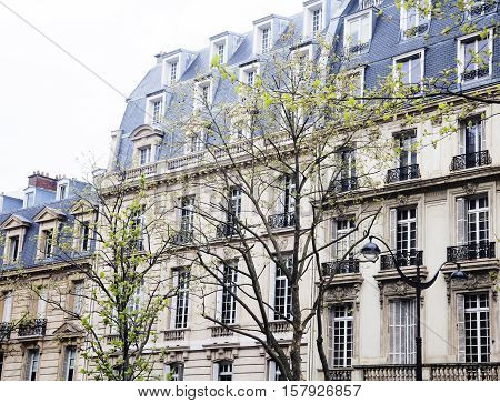 houses on french streets of Paris. citylife concept close up