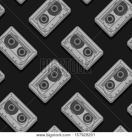 Seamless vector pattern of tape cassettes over black background
