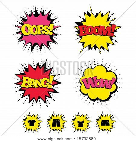 Comic Boom, Wow, Oops sound effects. Clothes icons. T-shirt and bermuda shorts signs. Swimming trunks symbol. Speech bubbles in pop art. Vector