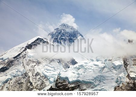 Everest. View of top of Mount Everest with clouds from Kala Patthar way to Everest base camp khumbu valley - Neepal