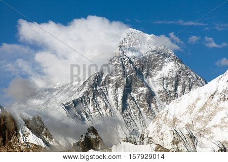 view of Everest with beautiful clouds on the top from Gokyo Ri - Everest area Sagarmatha national park Khumbu valley Nepal