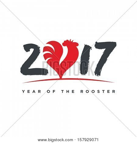2017 Year of the Rooster Greeting Card. Silhouette of a red cock, animal symbol on the Chinese calendar, in the shape of a heart and with handmade font. Vector EPS 10.