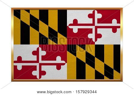 Flag of the US state of Maryland. American patriotic element. USA banner. United States of America symbol. Maryland official flag golden frame fabric texture illustration. Accurate size colors