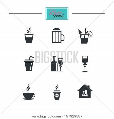 Cocktail, beer icons. Coffee and tea drinks. Soft and alcohol drinks symbols. Black flat icons. Classic design. Vector