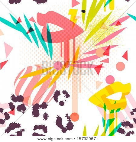 Summer tropical colors girly seamless pattern with paint dripping lips