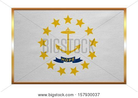 Flag of the US state of Rhode Island. American patriotic element. USA banner. United States of America symbol. Rhode Islander official flag golden frame fabric texture illustration. Accurate colors