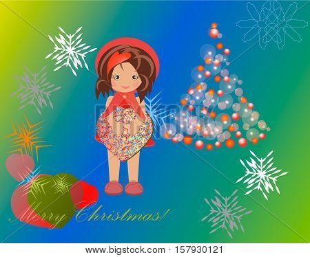 The picture with the motive Christmas girl with gift box in hands near the green decked Christmas tree on the background of snowflakes Vector illustration