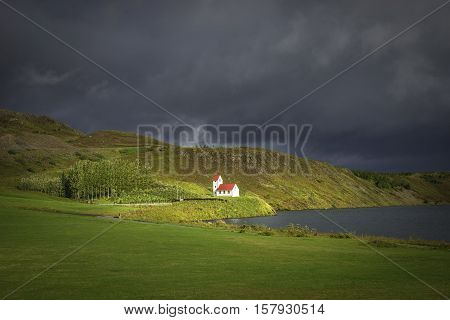 Lonely Church Illuminated By Sun At Iceland, Summer Time