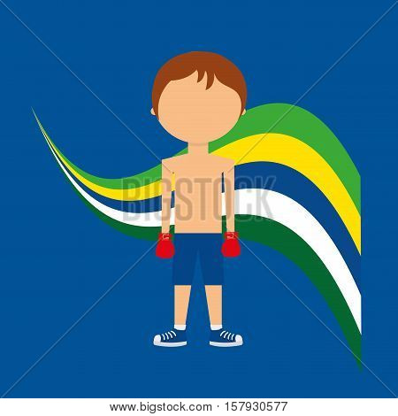 cartoon boxing player brazilian label vector illustration eps 10
