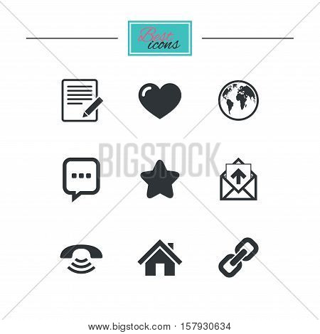 Mail, contact icons. Favorite, like and internet signs. E-mail, chat message and phone call symbols. Black flat icons. Classic design. Vector