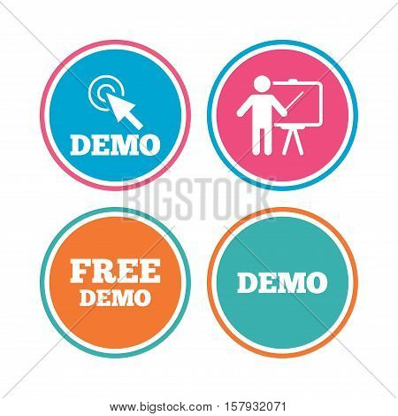 Demo with cursor icon. Presentation billboard sign. Man standing with pointer symbol. Colored circle buttons. Vector