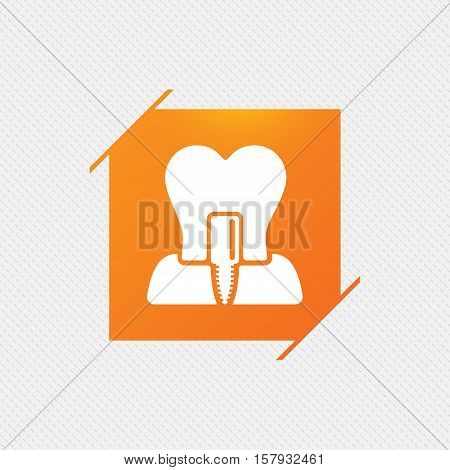 Tooth implant icon. Dental endosseous implant sign. Dental care symbol. Orange square label on pattern. Vector
