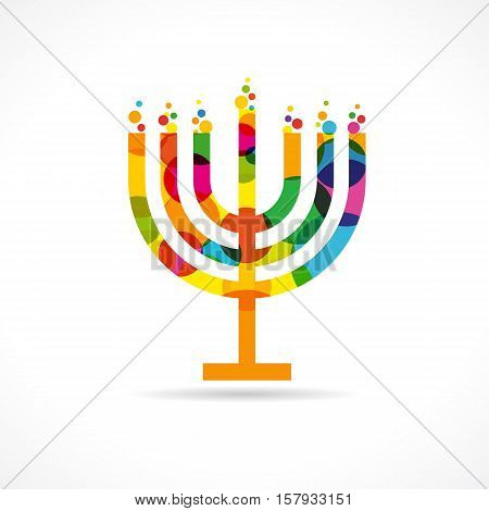 Menorah Israel candle colorful mosaic vector icon. Menorah emblem colored
