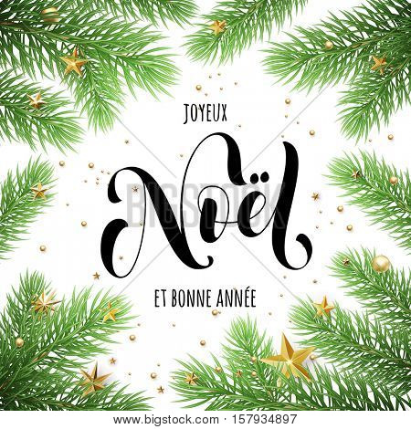 Joyeux Noel, Bonne Annee French text Merry Christmas and Happy New Year in frame of tree branches. Festive Christmas greeting card with Christmas stars ornaments
