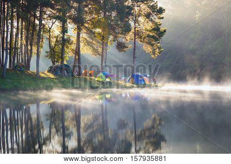 Morning at Pang Ung lake Pang Ung Mae Hong Son province North of thailand
