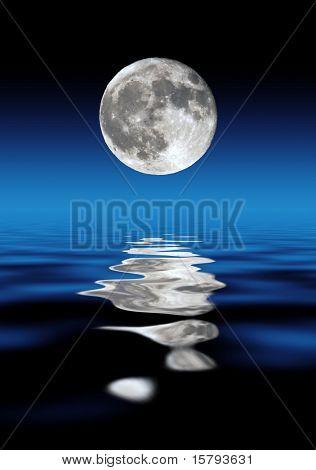 Full Moon Rising Over Water At Night