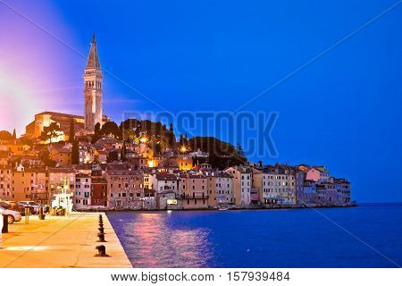 Blue hour in Rovinj waterfront Istria Croatia
