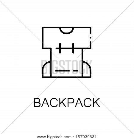 Backpack flat icon. Single high quality outline symbol of outdoor activity for web design or mobile app. Thin line signs of backpack for design logo, visit card, etc. Outline pictogram of backpack