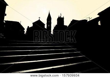 Supetar church and landmarks black and white silhouette view Island of Brac Dalmatia Croatia