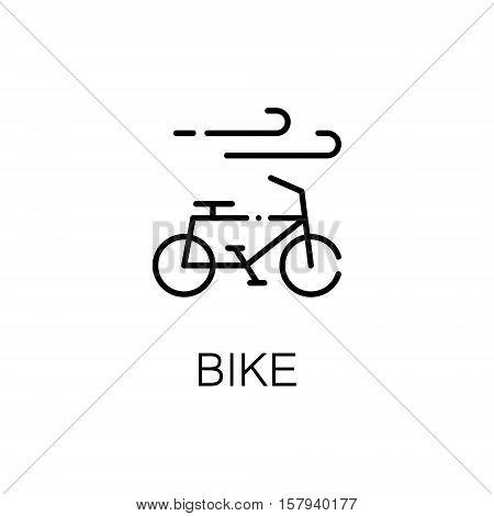 Bike flat icon. Single high quality outline symbol of outdoor activity for web design or mobile app. Thin line signs of bike for design logo, visit card, etc. Outline pictogram of bike