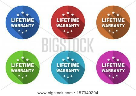 Set of vector lifetime warranty icons. Colorful round web buttons. Flat design pushbuttons.