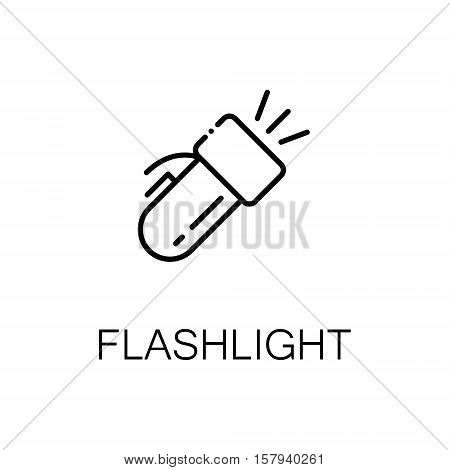 Flashlight flat icon. Single high quality outline symbol of outdoor activity for web design or mobile app. Thin line signs of flashlight for design logo, visit card, etc. Outline pictogram of flashlight