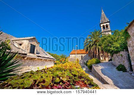 Stone village of Splitska church and street view island of Brac Croatia