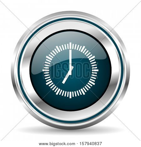 Clock vector icon. Chrome border round web button. Silver metallic pushbutton.