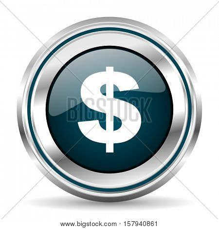 Us dollar vector icon. Chrome border round web button. Silver metallic pushbutton.